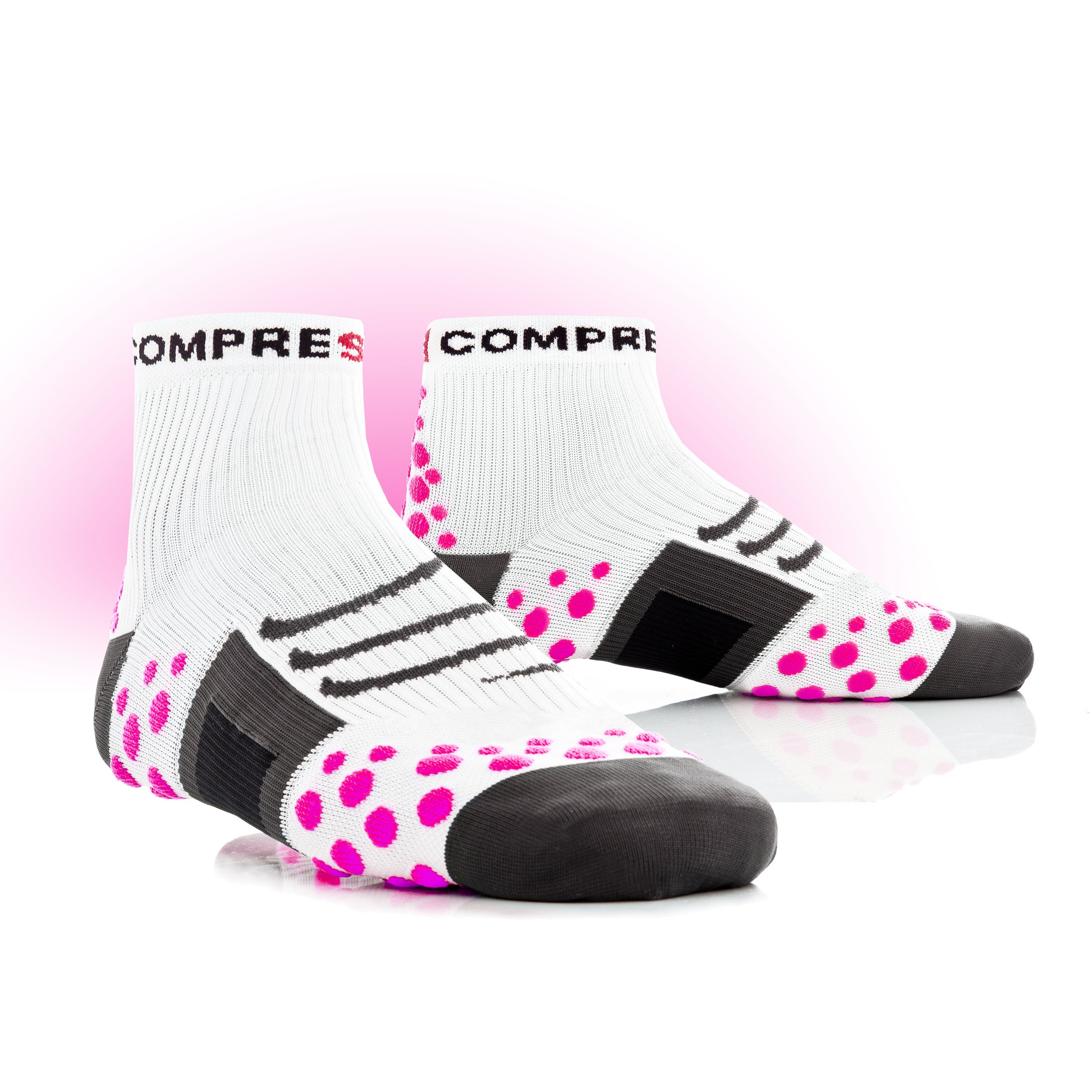 chaussettes de sport compressport proracing socks run pink dot blanc compression sport. Black Bedroom Furniture Sets. Home Design Ideas